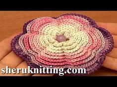 Crochet Large Multi Layered Flower Tutorial 87 - YouTube