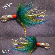 Gnarly Squids w/ eye poppin floro colors..built in rattle Salty-Veins-Fishing-Lures.myshopify.com ~SV~