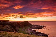 pink sunset over Onehunga Bay, Titahi Bay