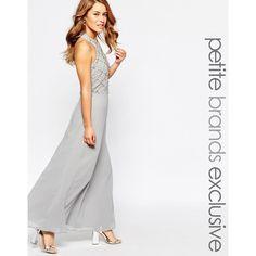 Maya Petite Halter Embellished Body Maxi Dress ($153) ❤ liked on Polyvore featuring dresses, grey, halter top maxi dress, gray maxi dress, petite dresses, embellished maxi dress and gray cocktail dress