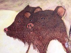 Two Headed Bear - PRINT by jillpetersenart on Etsy