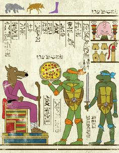 "Artist: Josh LN ~ """"Hero-Glyphics"" or when superheroes are invited in the papyrus of ancient Egypt. An excellent series featuring Spiderman, Thor, Captain America, or the Star Trek & Teenage Mutant Ninja Turtles! Artwork designed by artist Josh LN."" ~ This one: Teenage Mutant Ninja Turtles ~"