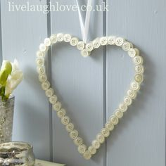 Large Pearl Button Heart Pew/Chair Decorations