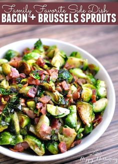 Are you looking for an amazing side dish to bring to a pot luck? This Bacon and Brussels Sprouts recipe has quickly become one of our favorite side dishes! It's sure to please anytime of year.
