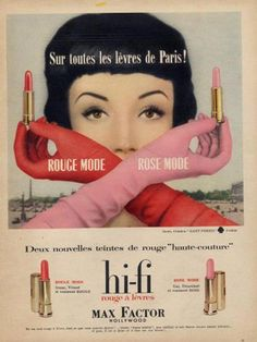 Retro Makeup 1958 Max Factor lipstick ad - Vintage advertising -- found in my mother's basement, flea markets and various corners of the Internet -- dusted off and displayed for your viewing pleasure. Vintage Makeup Ads, Retro Makeup, Vintage Ads, Vintage Posters, 1950s Makeup, Vintage Trends, Vintage Shoes, Vintage Paper, Retro Ads