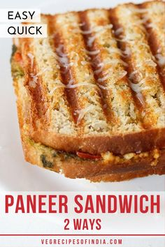 Looking to spice up your normal grilled cheese sandwich? Try these Indian versions of a paneer sandwich. There's an Indian style sandwich that includes green chutney, spices, and herbs. Paneer Sandwich, Grilled Sandwich Recipe, Vegetarian Sandwich Recipes, Veg Sandwich, Cheese Sandwich Recipes, Vegetarian Snacks, Gourmet Recipes, Snack Recipes, Cooking Recipes