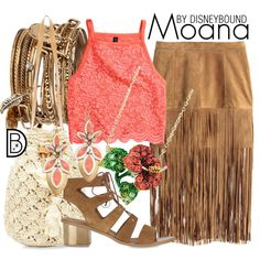 Moana by leslieakay on Polyvore featuring H&M, Topshop, Andrew Hamilton Crawford, Stella & Dot, ALDO, disney, disneybound and disneycharacter