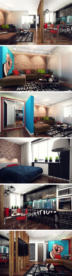 """Interior de um apartamento diferenciado e com muita personalidade. Destaque para os toques """"pop art"""" na decoração!"""