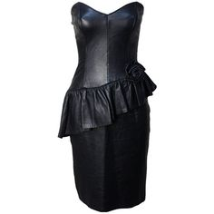 Pre-owned 1980s Black Leather Bustier Dress (£245) ❤ liked on Polyvore featuring dresses, day dresses, black leather bustier, 80s dress, black bustier dress, black bustier и black cocktail dresses