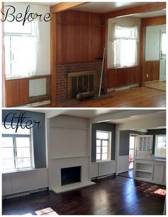 Before and after: dark stain refinished floors, gray walls, white trim and beams