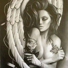 Angel with thorn roses Tattoo Drawings, Body Art Tattoos, Sleeve Tattoos, Art Drawings, Tatoos, Angel Sleeve Tattoo, Roses Tatoo, Tattoo Gesicht, Angel Y Diablo