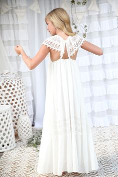 b0617b9ddd8 Haven Maxi Dress - Off white  Ivory Bohemian Flower Girl Cotton Crochet