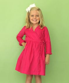 Look at this Kayce Hughes Hot Pink Corduroy Ruffle Wrap Dress - Infant, Toddler & Girls on #zulily today!