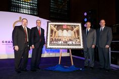 The reveal of the USPS Grand Central Centennial commemorative stamp #GCT100