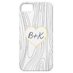 Houten Korrel met Initialen in een Hart Barely There iPhone 5 Hoesje