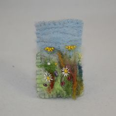Embroidered and felted brooch - Meadow £12.00