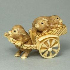 Hippo Ivory Tusk Netsuke 3 Pigs on Cart Figurine Carving HN0562 by www.tide-mammoth.com