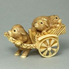 Hippo Ivory Tusk Netsuke 3 Pigs on Cart Figurine Carving HN0562 by www.tide-mammoth.com