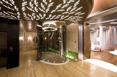 Фото интерьера спальни и ванной комнаты дома в стиле авангард Дизайн интерьера, архитектура