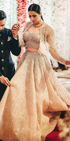 30 Exciting Indian Wedding Dresses That You'll Love - Indian designer outfits - Indian Bridal Outfits, Indian Bridal Wear, Indian Designer Outfits, Wedding Dresses For Girls, Party Wear Dresses, Girls Dresses, Designer Dresses For Wedding, Engagement Dress For Bride, Engagement Outfits