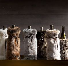 Got this for my co-workers last Christmas (also got the wines). It's such a cool wine bag. So soft :) From Restoration Hardware Luxe Faux Fur