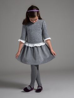 Winter Grey Luxe Dress | Grey knit sweater with white twill ruffled collar, sleeves and bottom hemline with corduroy grey skirt combi dress | Raixa | Made in Spain