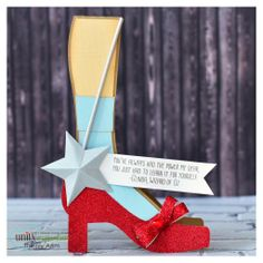 What a wonderful card to give any lady, young and old, a boost of confidence.  Thienly transformed the witch leg card from SPOOKY SOIREE SVG KIT into Dorothy's leg with those wonderful red shoes and a saying from Glenda, the good witch!  This is so cute, just check out the star wand!!!