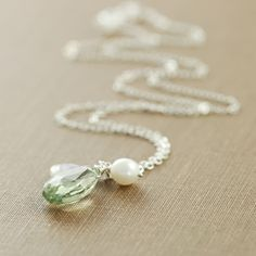 Green Amethyst Moonstone Pearl Necklace Sterling by aubepine