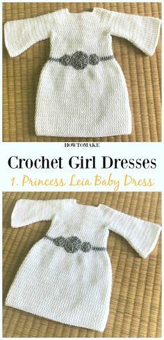 Crochet Princess Leia Newborn Dress Free Pattern - Girl Dress Free Crochet Patterns