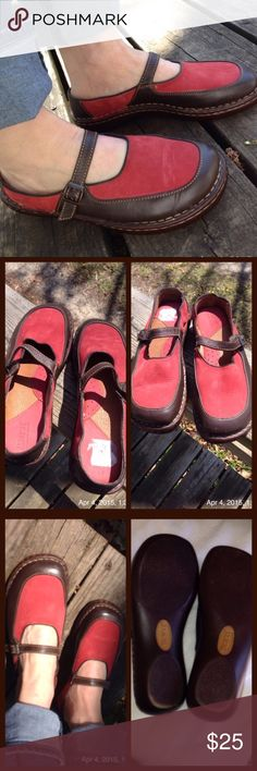 BORN Leather low back Mary Janes Brick red suede & brown leather, very gently worn. Buckle strap, low back like clogs. Man made sole. Marked US 6.5 Eur 37 Born Shoes Flats & Loafers