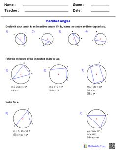 Inscribed Angles Worksheets