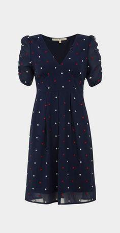 Uttam Boutique Spotty dress, Navy