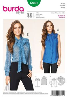 Blouses Burda Sewing Pattern No. 6840. Size 10-22.