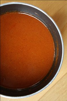 Homemade Enchilada Sauce.  This stuff is so much better than canned.  I found out that I actually love red sauce!  Pour it over enchiladas (made from leftover Santa Fe chicken) and top with cheese.  Bake at 350 until cheese it bubbly and enchiladas are warmed through.
