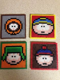 Set of 4 South Park coasters handmade with perler