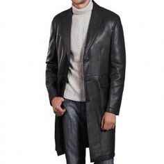 BGSD Men's New Zealand Lambskin Leather Long Coat - Black XL, This luxurious leather coat cut with a slim contemporary fit is a superb enhancement to any man's wardrobe. Mens Designer Leather Jackets, Mens Leather Coats, Long Leather Coat, Men's Leather Jacket, Leather Trench Coat, Black Leather, Lambskin Leather, Jacket Men, Real Leather