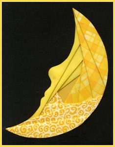"Moon silhouette made with the ""iris folding"" technique. Good craft for older kids or teens. Lots of free patterns here!"