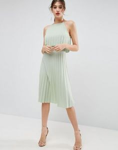 ASOS Pleated Crop Midi Dress