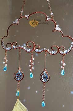 Super sparkly Raincloud Suncatcher, Swarovski Crystal wire art, window home decor, patio garden decoration rainbow maker blue aqua – Gift Ideas Bead Crafts, Jewelry Crafts, Arts And Crafts, Wirework Jewelry Tutorials, Beaded Jewelry Designs, Diy Crafts, Geek Jewelry, Gothic Jewelry, Jewelry Bracelets