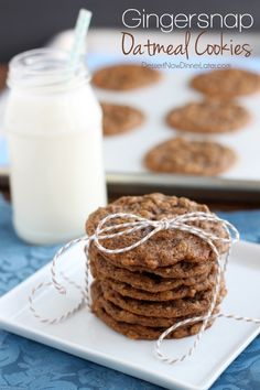 Gingersnap Oatmeal Cookies - Soft baked gingersnap cookies with the addition of old fashioned oats to make a chewy, delectable cookie! From @dessertnowblog #QuakerUp #MyOatsCreation #CollectiveBias #spon