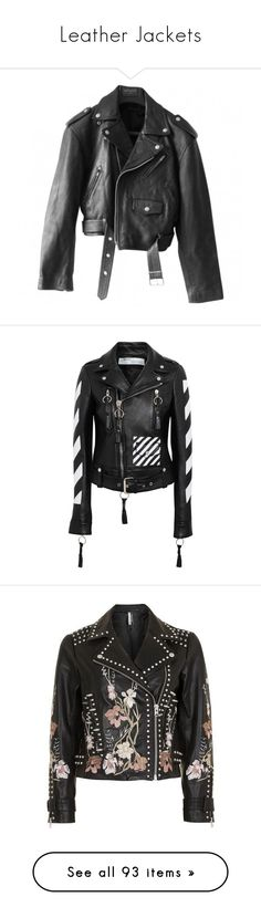 """Leather Jackets"" by vanilla-cupcakee ❤ liked on Polyvore featuring outerwear, jackets, coats & jackets, leather jacket, moto jackets, leather biker jacket, rider jacket, genuine leather biker jacket, rider leather jacket and off white"