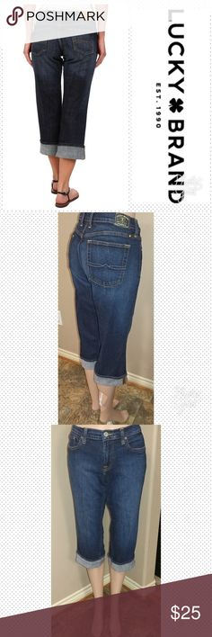 """Lucky Brand Crop size 31 Lucky Brand Danville Classic Rider Crop size 31, inseam unrolled 22.5"""", rise 9.5"""", waist laid flat 16"""". Wash Tie Breaker. Great condition. First picture for reference. Lucky Brand Jeans Ankle & Cropped"""