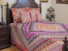 Luxury Bedding Duvet Set - Bohemian Magenta Sari King Queen Bedspread Pillowcases