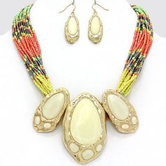 Multi Color Seed Beads Center White Glitter Stone Hammer Gold Tone  Necklace Set #FashionJewelry
