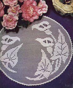 Vintage CALLA LILY Round Doily Crochet Pattern  by KenyonPDF, $2.50