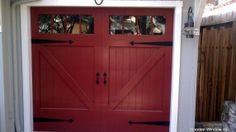 Red Garage Door with Board and Batten- fun color!