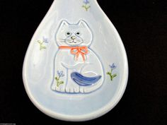 Cat Spoon Rest Vintage Otagiri KITTEN & FLOWERS Ceramic Japan Blue