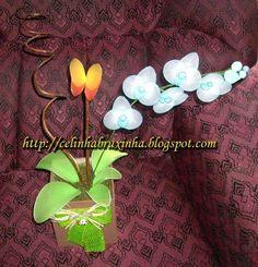 orquidea em meia de seda