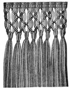 Macramé is an Arabic word, signifying an ornamental fringe or trimming, which has been adopted as the term for a certain kind of hand-work, known also as «knotted fringe» or «Mexican lace» and produced by the knotting, interweaving and tying together of threads.