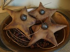 Primitive star ornies by ThePrimitivePear on Etsy